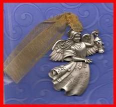 Christmas Ornament Pewter ANGEL Gloria Duchin with Swarovski Crystal - $19.75
