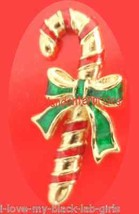 "Christmas PIN AVON Candy Cane Tac Pin Goldtone Red-Green Enamel 1 1/4"" @... - $14.80"