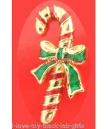"Christmas PIN AVON Candy Cane Tac Pin Goldtone Red-Green Enamel 1 1/4"" @... - $14.80"