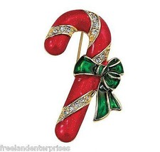 Christmas PIN Avon Holiday Motif Pin Candy Cane Goldtone, Red & Green En... - $9.85