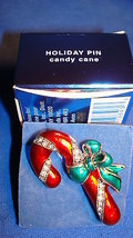 Christmas PIN Avon Holiday Pin Candy Cane Silvertone Red-Green Enamel 1.... - $14.80