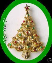 Christmas PIN Avon Tree Goldtone w/ Red & Green Enamel Dots - $19.75