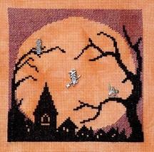 Halloween Moon w/3 charms cross stitch chart Handblessings - $10.50