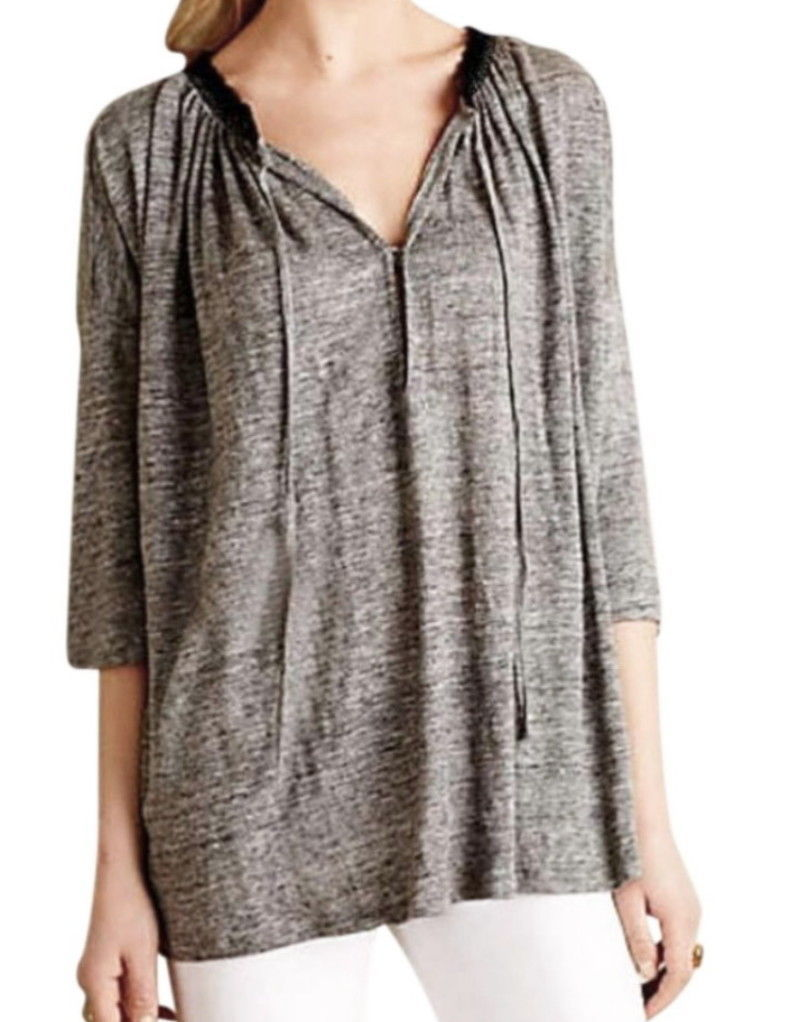 45181ecabf2a3 Anthropologie Linen Peasant Top XSmall Runs Large Grey Slubby Black Lace  Trim - $47.64
