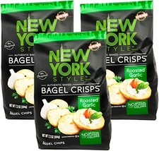 York Style Garlic Bagel Crisps, 7.2 oz Pack of 3