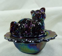 Cat on Nest Salt Dip Purple Carnival Glass Kitty Kitten Amethyst Carnival - $15.88