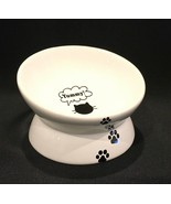 YHY Elevated Tilted Porcelain Cat Bowl Dish Ergonomic YUMMY! - $14.99