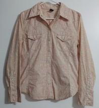 Gap Pearl Snap Shirt Retro Western Boho Prairie Floral Womens Size M - $9.90