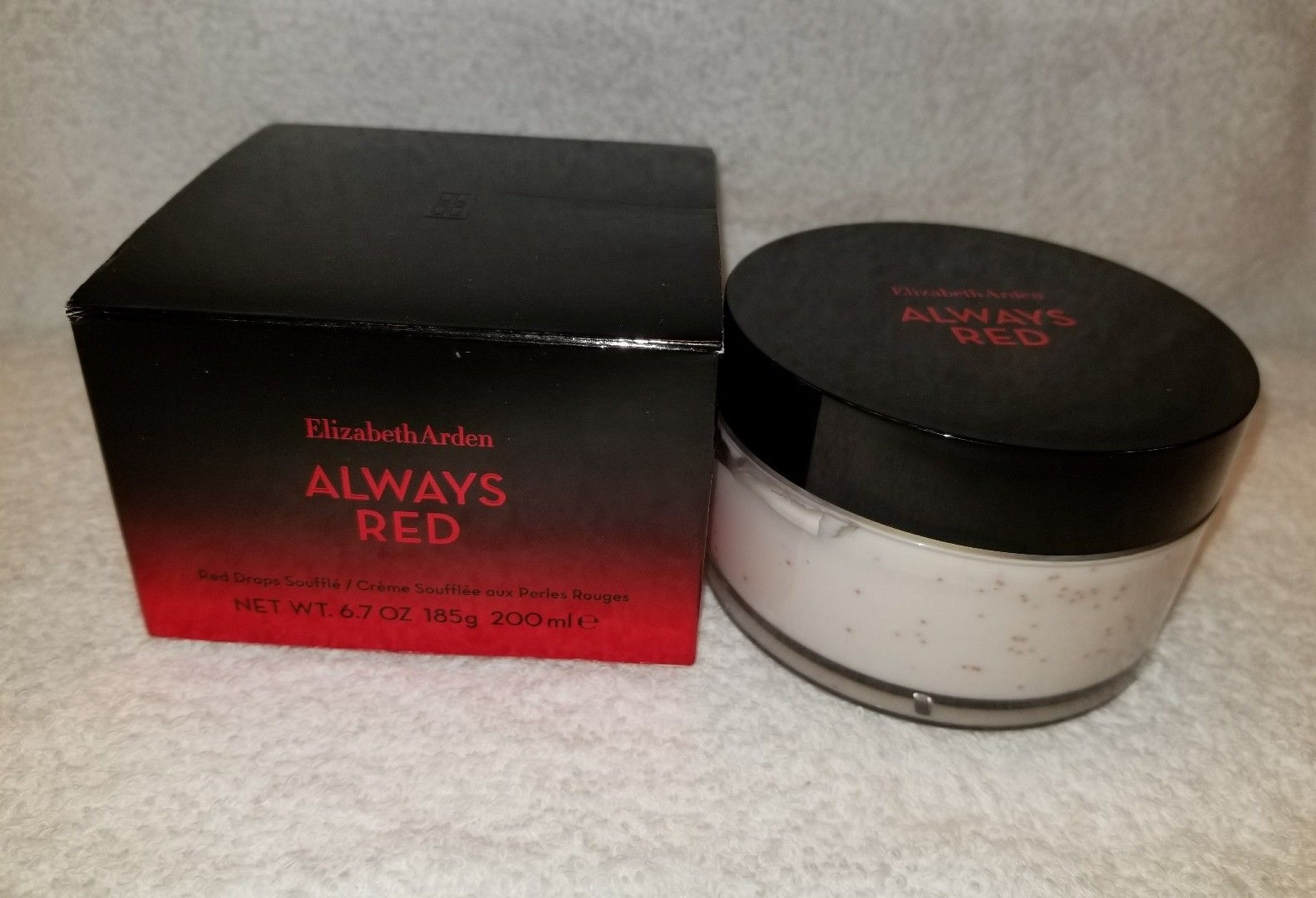 Primary image for Elizabeth Arden ALWAYS RED Red Drops Souffle 6.7 oz/200mL New Jar Boxed Unsealed