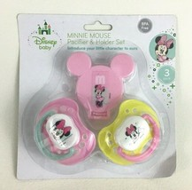 Disney Baby Minnie Mouse Pacifier and Holder Set 3pc New in Pack Silicone - $11.83