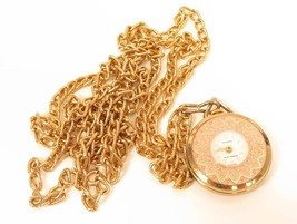 Triomphe Lifetime Mainspring Vintage Gold Plated Necklace Pendant Watch*... - $44.55