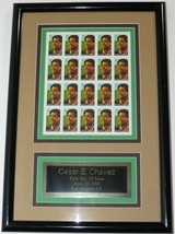 Cesar E. Chavez First Day of Issue Framed 20 Stamp Block- NR! - $24.70