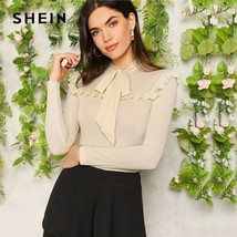 SHEIN Ladies Elegant Apricot Bow Tie Neck Ruffle Trim Slim Fit Solid Top... - $31.48
