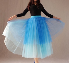 Blue Layered Tulle Skirt Blue Puffy Tulle Skirt Plus Size image 6