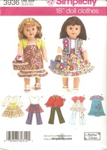 American Girl 18 Inch Doll Clothing Wardrobe Pattern Simplicity 3936 UNCUT - $4.99