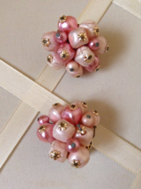 Vintage Shimmering Pink Cluster Chunky Beaded Fashion Clip On Earrings - $25.00