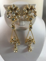 Vintage Gold Tone With Clear Prong Rhinestones Long Dangle Clip On Earrings - $15.00