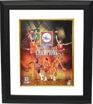 Earl Cureton signed Philadelphia 76ers 16x20 Photo Custom Framed Collage... - £152.04 GBP