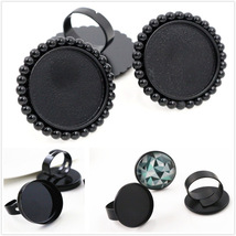 25mm 4pcs Black Plated 3 Style Brass Adjustable Ring Settings Blank/Base... - $18.14