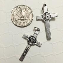 "Saint St Benedict Cross Jesus Catholic Crucifix 1 1/2"" Silver Medal Pendant - $13.99"