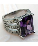 Silver Tone Ring Amethyst size 7 - $15.00