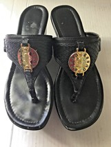 Guess Round Toe Black T-strap Platform Wedge Thong Sandals Gold Metallic... - $18.65