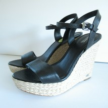 Michael Kors Sandals Size 9 Jill Espadrille Leather Wedge Heel Black - $41.78