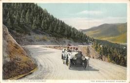 Car on Pike's Peak Auto Highway Colorado 1910c Phostint postcard - $6.93