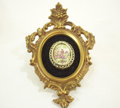Ornate CAMEO Wall Hanging Small Accent Courting Couple Gold Frame Black ... - $16.82