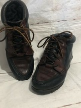 Timberland Boots Leather Black Brown Ties Up Front Ankle Vintage 1990 6.5 - $79.20