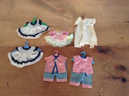 "LOT OF 6 VARIOUS MINIATURE DOLL CLOTHES SIZES FROM 3"" TO 6"" LONG        ... - $24.14"