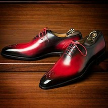 Handmade Maroon Patina Oxfords shoes for men custom leather shoe for men - $159.99 - $219.99
