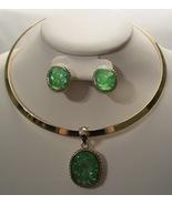 Green Swarovski Crystal Simulated Necklace Choker Set Gold Tone EP0053 - $18.99