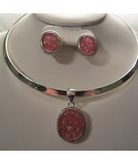 Pink Swarovski Crystal Simulated Necklace Choker Set Silver Tone EP0053 - $18.99
