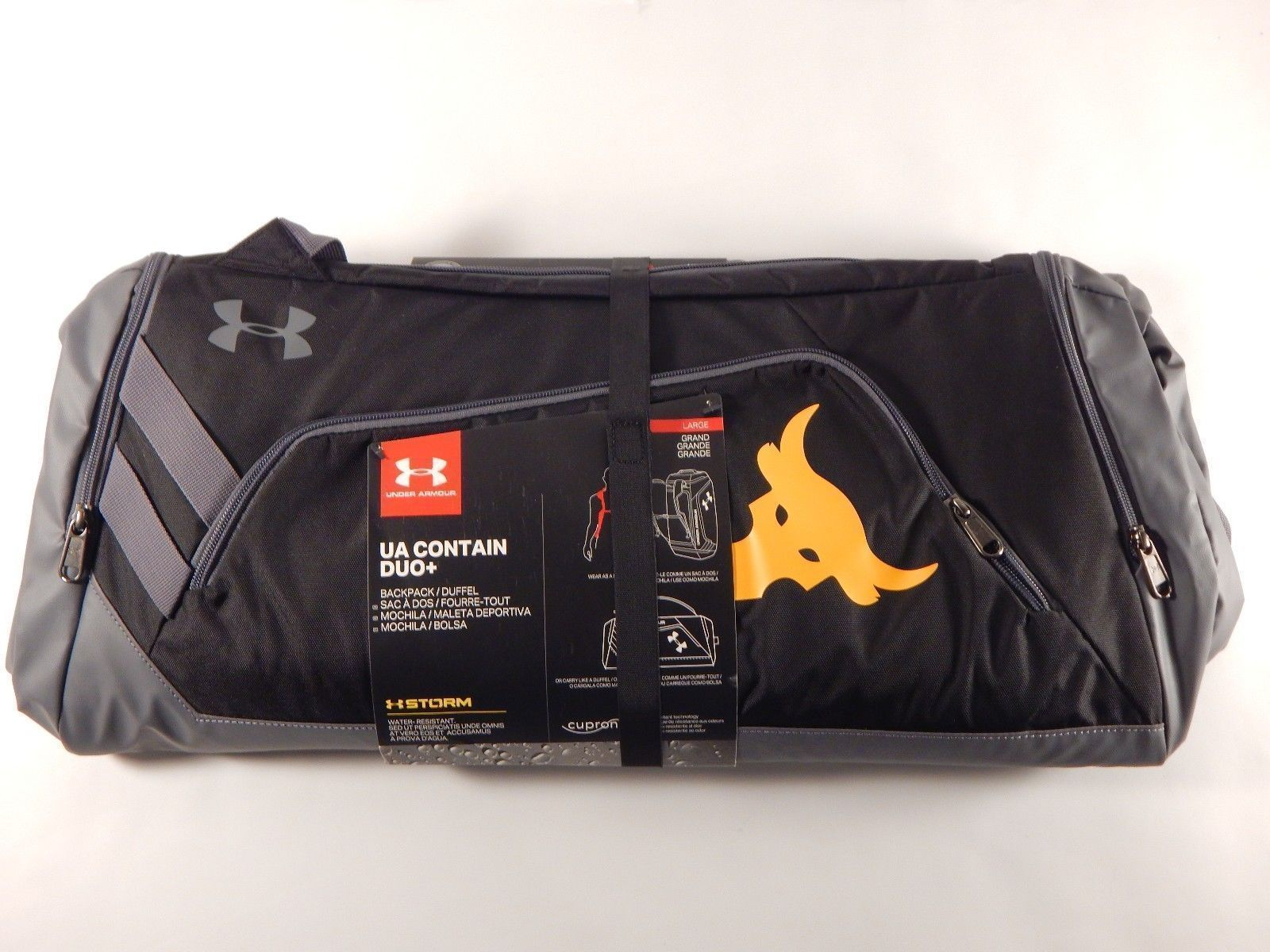 57. 57. Previous. Under Armour X Project Rock UA Contain Duo+ Duffle Bag  Gym Sports Backpack SZ L 396a655466dd9