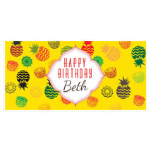 Pineapple Happy Birthday Banner Personalized Pa... - $22.50