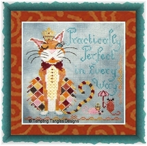 Practically Perfect cat cross stitch chart Tempting Tangles - $10.80