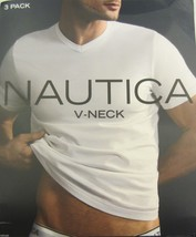 3 NAUTICA MENS 100% COTTON WHITE V-NECK T-SHIRTS UNDERSHIRTS S M L XL XX... - $36.00