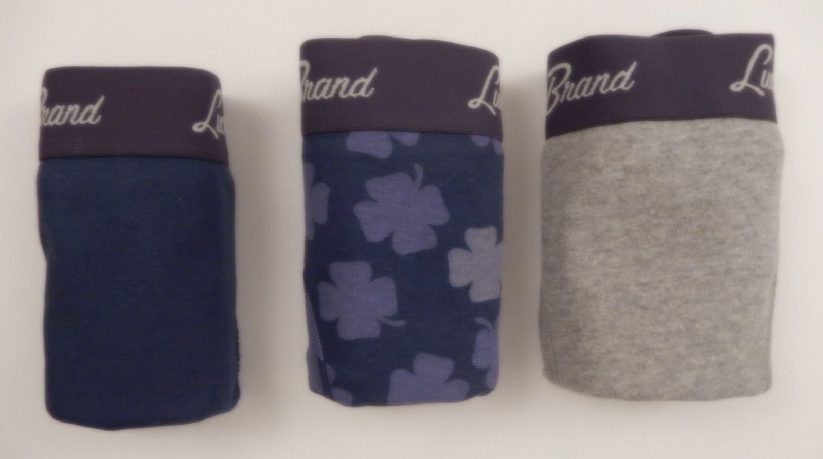 3 LUCKY BRAND MEN'S COTTON BOXER BRIEFS BLUE GRAY - SIZES: S M L XL IN GIFT BOX