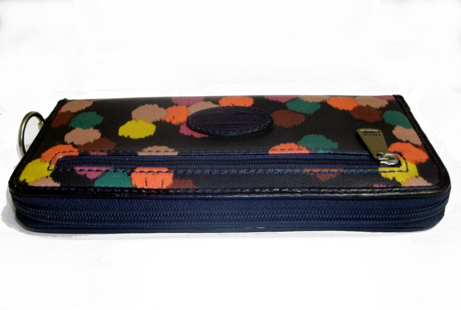 Fossil Coated Canvas Navy Ziparound Accordion Clutch Large Wallet image 3