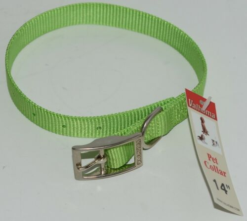 Valhoma 730 14 LG Dog Collar Lime Green Single Layer Nylon 14 inches Package 1