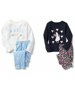 Gap Kids Girls Sleep PJ Set Pajama 10 Disney Blue White Heart Long Sleev... - $29.99