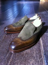 Handmade Men Gray Brown Moccasin Genuine Leather Burnished Wing Tip Shoes - $139.90+