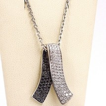 18K WHITE GOLD NECKLACE HUG BOW PENDANT WHITE BLACK DIAMONDS, DIAMOND CUT CHAIN image 2