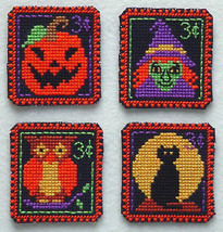 Halloween 3 cent Holiday Stamps cross stitch chart Handblessings - $5.00