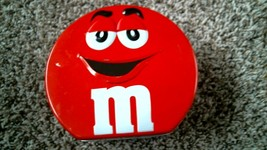 """-186- M&M's 2002 RED 6"""" Lunchbox Tin - $20.25"""