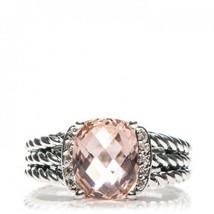 David Yurman Silver Petite Wheaton Morganite Diamonds Ring 7 - $222.75
