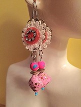Pink Color Earrings with Victorian Appeal - $13.50