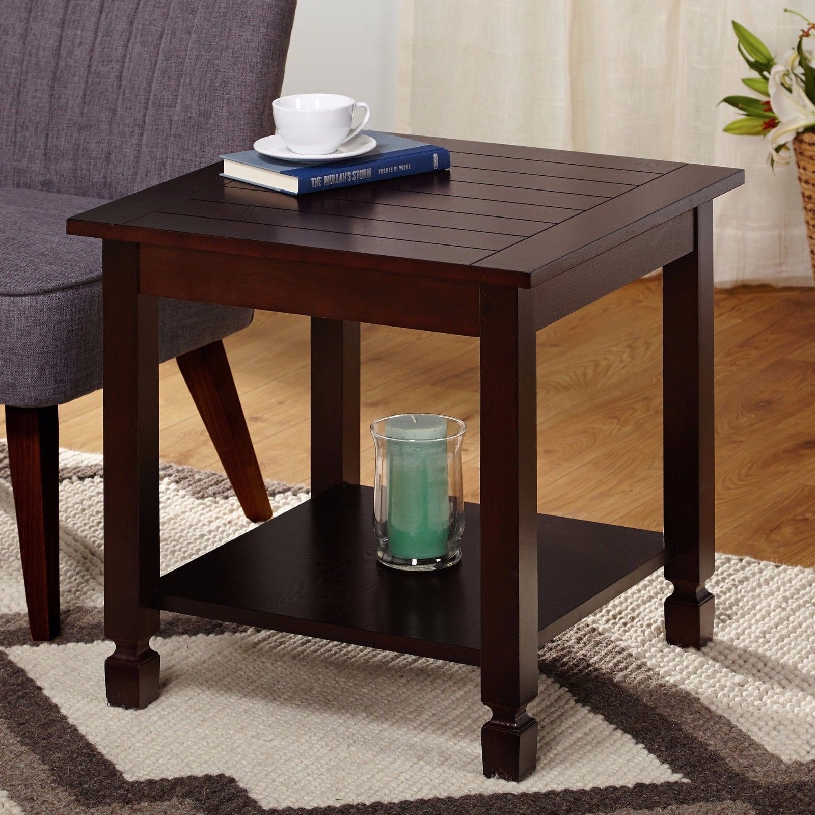 espresso finish square end table with lower shelf living