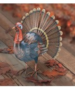Handcrafted Metal Turkey 17 Inch Fall Display Thanksgiving Decor Indoor ... - $121.99